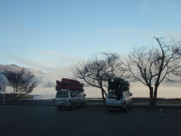 朝霧の本栖湖